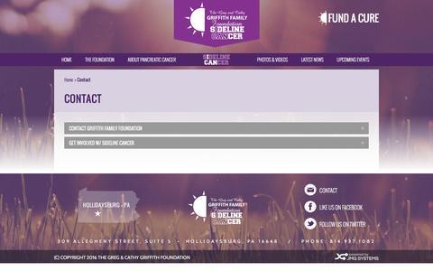 Screenshot of Contact Page griffithfamilyfoundation.org - Contact | The Griffith Family Foundation - captured Feb. 2, 2016