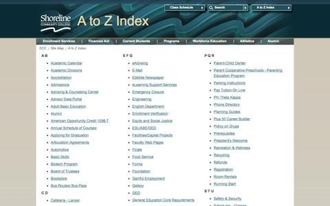 Screenshot of Site Map Page shoreline.edu - A to Z Index - captured Oct. 26, 2014