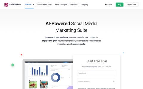 Screenshot of socialbakers.com - AI-Powered Social Media Marketing Suite | Socialbakers - captured Sept. 23, 2017