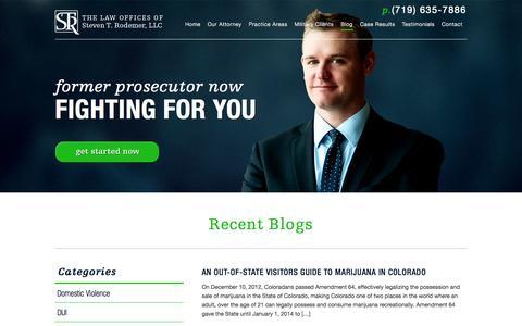 Screenshot of Blog coloradospringscriminaldefense.net - Law Blog - Colorado Springs | Law Office of Steven Rodemer, LLC - captured Oct. 2, 2014