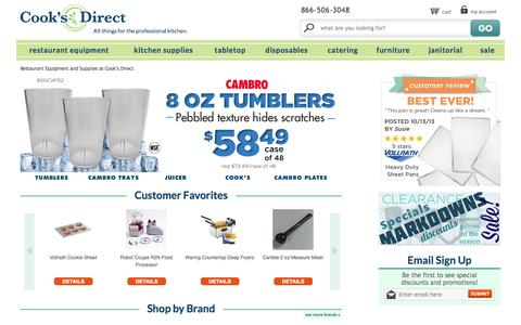 Screenshot of Home Page cooksdirect.com - Restaurant Equipment and Supplies   Restaurant Supply   Cook's Direct - captured Sept. 25, 2014