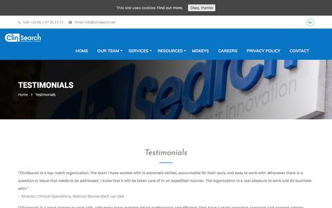 Screenshot of Testimonials Page clinsearch.net - Testimonials | ClinSearch - captured July 19, 2018