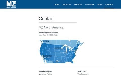 Screenshot of Contact Page mzgroup.us - Contact - captured Sept. 30, 2018
