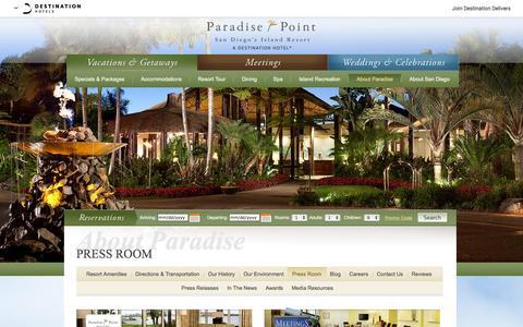 Screenshot of Press Page paradisepoint.com - San Diego Hotels & Resorts Press Room | Paradise Point Resort & Spa - Press Room - captured Jan. 25, 2016