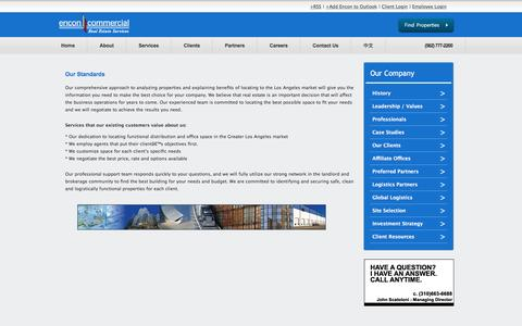 Screenshot of About Page enconcommercial.com - Our Standards —  Encon Commercial Real Estate Services – Commercial Real Estate Los Angeles, Los Angeles Warehouse Space, Warehouse Space Los Angeles, Los Angeles Office Space, Office Space Los Angeles, Los Angeles Industrial Real Estate, Industr - captured Nov. 8, 2016