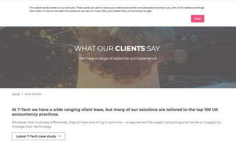 Screenshot of Case Studies Page ttech.uk.com - T-Tech Case Studies - Expert Consulting by T-Tech - captured Nov. 10, 2019