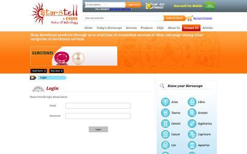 Screenshot of Login Page starstell.com - Contact Starstell - captured Oct. 2, 2014