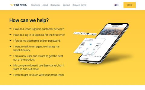 Screenshot of Support Page egencia.com - How to contact Egencia support & customer service - Egencia Australia - captured Dec. 14, 2018