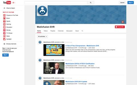 Screenshot of YouTube Page youtube.com - Medicfusion EHR  - YouTube - captured Oct. 27, 2014