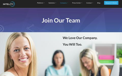 Screenshot of Jobs Page intelitycorp.com - Join Our Team - Intelity - captured April 7, 2018