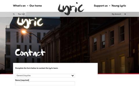 Screenshot of Contact Page lyric.co.uk - Contact - Lyric Hammersmith - Lyric Hammersmith - captured Sept. 20, 2017