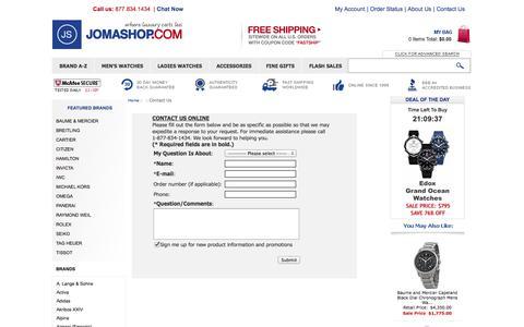 Screenshot of Contact Page jomashop.com - Contact Us - captured Sept. 18, 2014