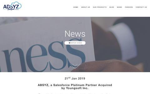 Screenshot of Press Page absyz.com - ABSYZ: Simply Cloud . Simplifying Cloud - captured June 4, 2019