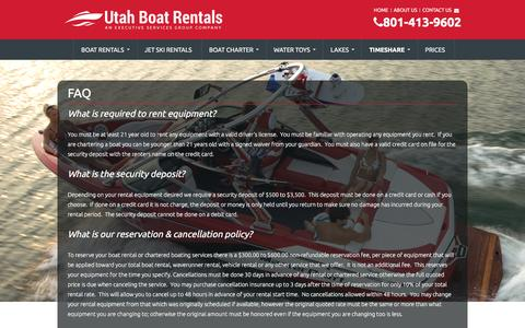 Screenshot of FAQ Page utahboatrental.com - Utah Boat Rental FAQ's - captured March 22, 2016