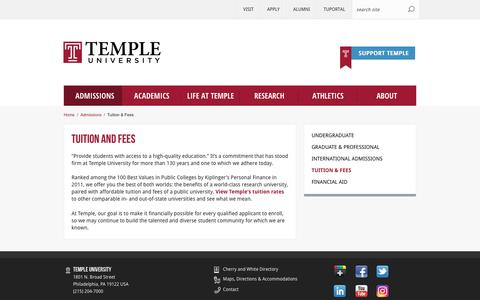 Tuition and Fees | Temple University