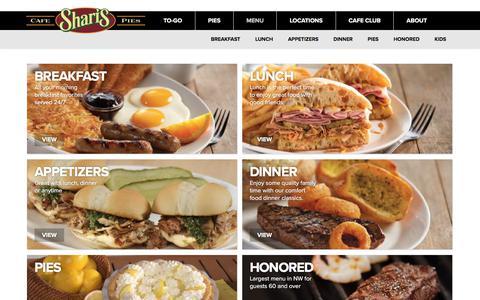 Screenshot of Menu Page sharis.com - Menu | Shari's Cafe and Pies - captured Oct. 24, 2017