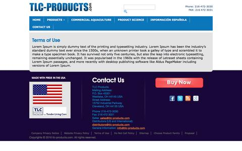 Screenshot of Terms Page tlc-products.com - Terms of Use | TLC Products for Aquatic Systems - captured Nov. 21, 2016