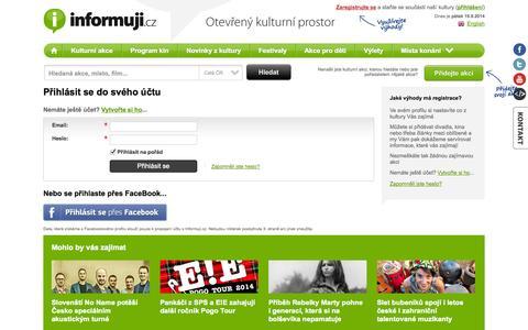 Screenshot of Login Page informuji.cz - Přihlášení fanouška | Informuji.cz - captured Sept. 19, 2014