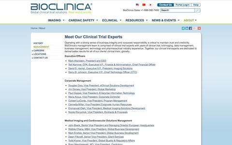 Screenshot of Team Page bioclinica.com - Clinical Trial Experts | BioClinica Management Team - captured Oct. 10, 2014