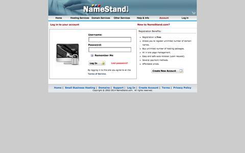 Screenshot of Login Page namestand.com - eCommerce & Small Business Web Hosting - NameStand.com - captured Oct. 27, 2014