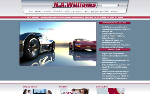 Screenshot of Home Page nawilliams.com - N.A. Williams - Automotive Aftermarket Manufacturers Representative Agency - captured Oct. 1, 2014