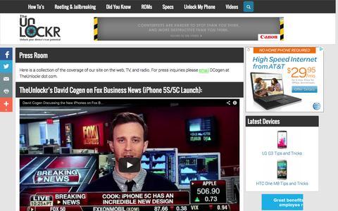 Screenshot of Press Page theunlockr.com - Press Room | TheUnlockr - captured Sept. 18, 2014