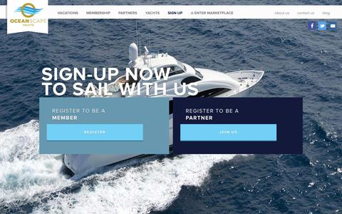 Screenshot of Signup Page oceanscapeyachts.com - OceanScape Yachts - Sign Up | PreRegister for More Information - captured Oct. 27, 2014