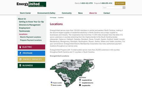 Screenshot of Locations Page energyunited.com - Locations   EnergyUnited - captured Dec. 10, 2015
