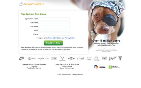 Screenshot of Signup Page Trial Page appointment-plus.com - Sign up for a Free 15 Day Trial with Appointment-Plus - captured Oct. 23, 2014