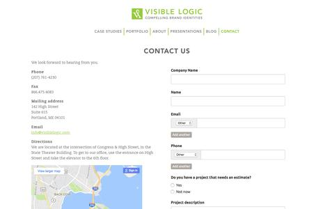 Screenshot of Contact Page visiblelogic.com - Contact Us | Visible Logic - captured June 24, 2017