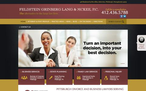 Screenshot of Home Page fglmlaw.com - Pittsburgh Business Law and Divorce Attorneys| FGLM, P.C. - captured Oct. 5, 2014