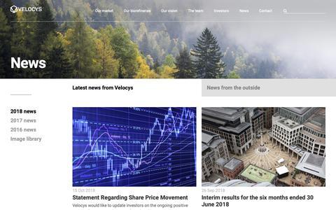 Screenshot of Press Page velocys.com - 2018 news | Velocys - captured Nov. 7, 2018