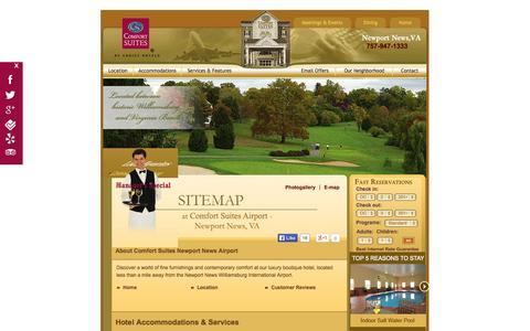 Screenshot of Site Map Page newportnewscs.com - Comfort Suites Newport News Airport – Virginia Hotel - captured Oct. 2, 2014