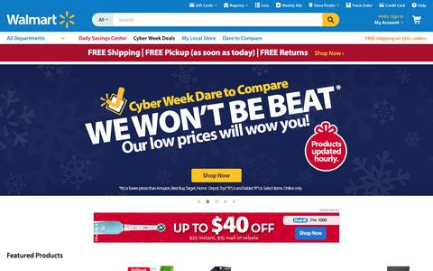 Screenshot of Home Page walmart.com - Walmart.com: Save money. Live better. - captured Dec. 1, 2015