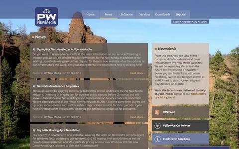 Screenshot of Press Page pwnewmedia.com - News - PW New Media - captured April 17, 2016