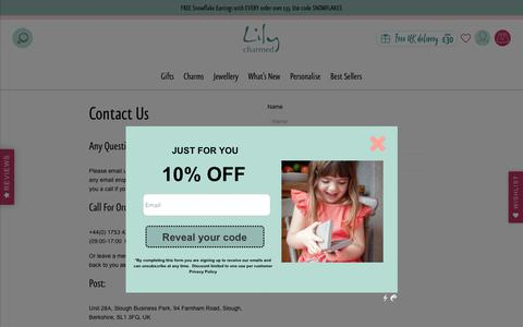 Screenshot of Contact Page lilycharmed.com - Contact Us                      – Lily Charmed - captured Dec. 8, 2018