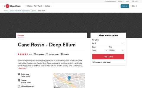 Cane Rosso - Deep Ellum reservations in Dallas, TX | OpenTable
