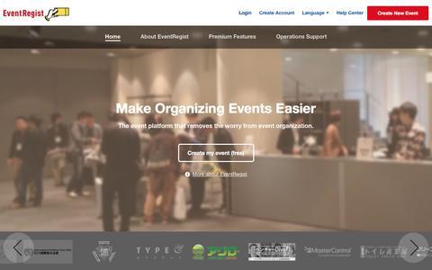 Screenshot of Home Page eventregist.com - EventRegist|Make your event a success - captured Jan. 31, 2016