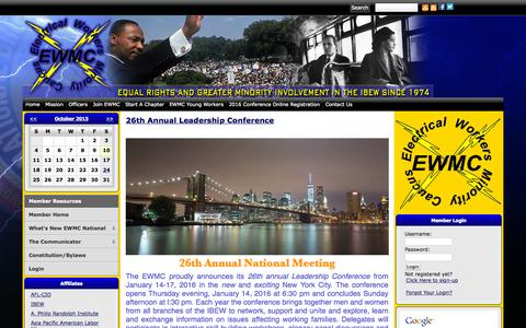 Screenshot of Home Page ibew-ewmc.com - Electrical Workers Minority Caucus - captured Oct. 10, 2015