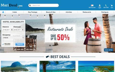 Screenshot of Home Page marideal.mu - MariDeal.mu   Best Deals in Mauritius - captured June 27, 2017