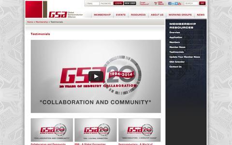 Screenshot of Testimonials Page gsaglobal.org - Testimonials | Global Semiconductor Alliance (GSA)Global Semiconductor Alliance (GSA) - captured Oct. 8, 2014