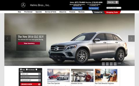 Screenshot of Home Page helmsbros.com - Mercedes-Benz® Dealer,  Helms Bros., Inc. in Bayside NY - captured Jan. 28, 2016