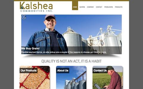 Screenshot of Home Page kalshea.com - Kalshea Commodities - Canadian Grain Exporter/Purchaser - Canary Seed - captured Sept. 7, 2015