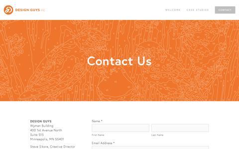 Screenshot of Contact Page designguys.com - Contact — Design Guys - captured Aug. 1, 2016