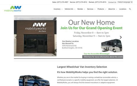 Screenshot of Home Page mobilityworks.com - Leading Dealer of Wheelchair Vans and Accessible Vehicles - MobilityWorks - captured Nov. 9, 2019