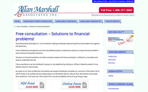Screenshot of Services Page wecanhelp.ca - Free consultation - Solutions to financial problems! - - captured Nov. 2, 2014