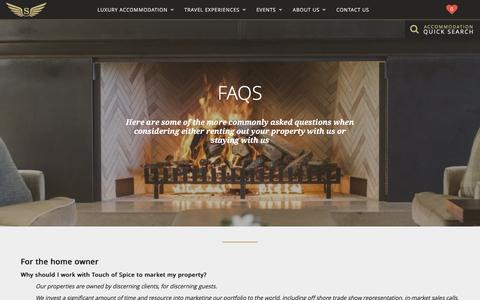 Screenshot of FAQ Page touchofspice.co.nz - FAQs | Touch of Spice - captured Feb. 24, 2016