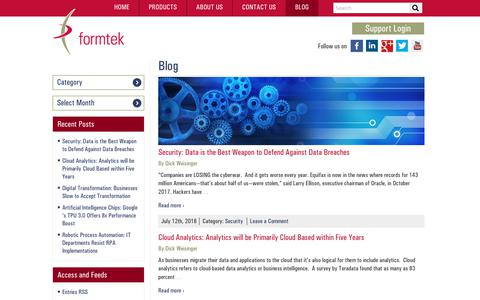 Screenshot of Blog formtek.com - Formtek Blog | Formtek Blog - captured July 13, 2018