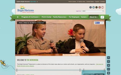 Screenshot of Press Page brighthorizons.com - Company, Child Care & Education News   Bright Horizons® - captured Sept. 19, 2014