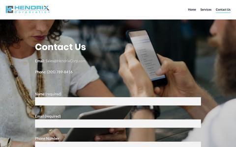 Screenshot of Contact Page hendrixcorp.com - Contact Us – Hendrix Corporation - captured Nov. 10, 2018